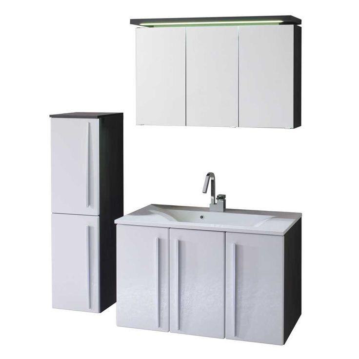 Badezimmer Komplettset in Weiß Schwarz (3-teilig) Jetzt bestellen - badezimmer komplettset