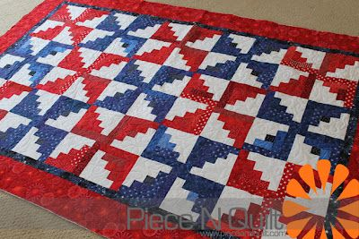 Red White and Blue Log Cabin Pinwheel Quilt