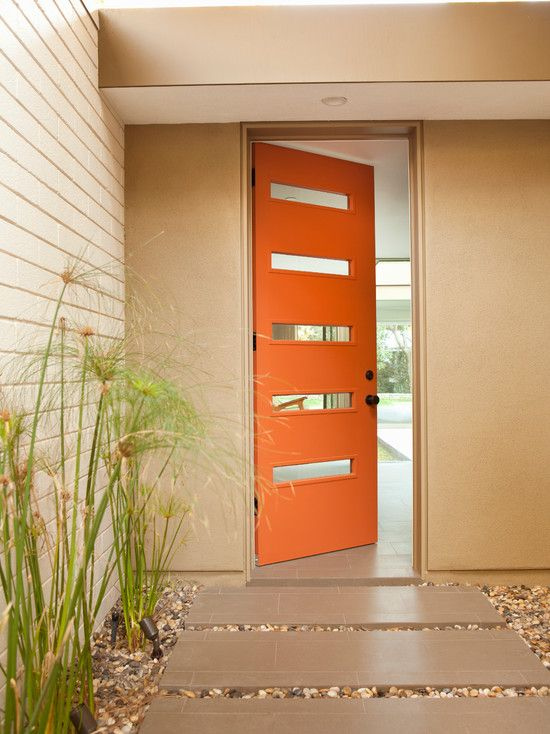 Mid Century Modern Front Doors : Midcentury Entry Orange Front Door Crestview Doors