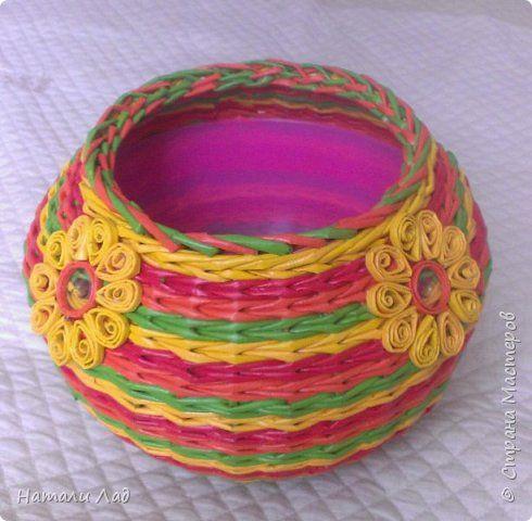 Поделка изделие Плетение домик для клубочка Трубочки бумажные фото 1