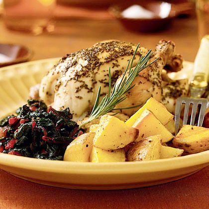 Rosemary-Lemon Cornish Hens with Roasted Potatoes by Cooking Light