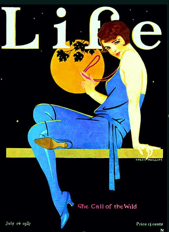 "Coles Phillips, July 1927 Life Magazine Cover, ""Call of the Wild"" -- Instant Download, Flapper, Art Deco, Pinup, Gatsby"