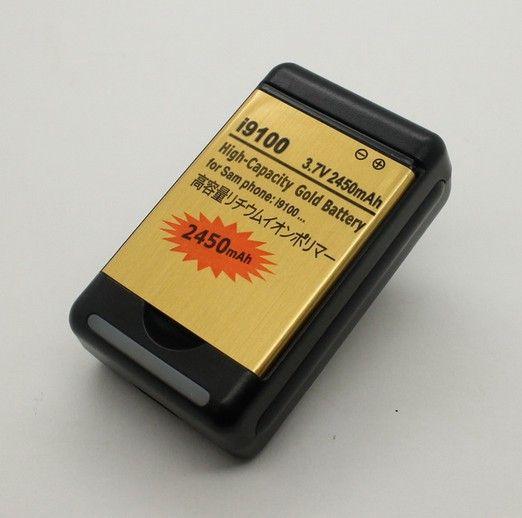 2450 мАч золото большой емкости аккумулятор + док уолл-usb зарядное устройство для Samsung Galaxy S2 S 2 II i9100 достичь i777 at и t мобильный телефон