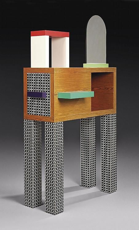 """""""Emerald"""" sideboard/console by Nathalie du Pasquier 1985. w.100 d.40 h.190 cm plastic laminate, wood, and mirror."""