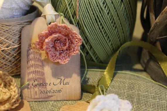 Fiore segnaposto con tag da personalizzare country by OndaSuTela