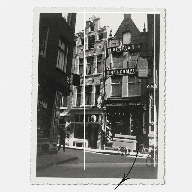 Ghost Signs in Amsterdam, Warmoesstraat 63: toen stijlvolle Britse hoge hoeden, nu platte Engelse zuipers...
