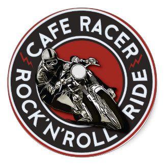 R n R Cafe racer Round Sticker                                                                                                                                                                                 Más