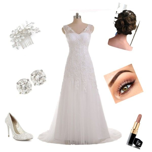 White wedding by alison-jane-gairns on Polyvore featuring polyvore, fashion, style, BCBGMAXAZRIA, Wedding Belles New York and Chanel