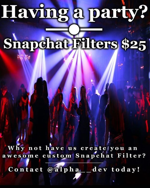 Having a party or event this week? Contact us to get an awesome $25 custom Snapchat filter! #AlphaDev #MakeItAwesome by alpha__dev. websitedevelopment #makeitawesome #grandopening #iphone #eventplanner #appstore #snapchat #work #birthdaysnapchatfilter #snapchatdevelopment #personalcybersecurity #my #ios #wedding #cybersecurity #design #snapchatfilter #privacy #website #birthday #iosdevelopment #followers #alphadev #iphoneapplications #weddingsnapchatfilter #comingsoon #iphoneonly…