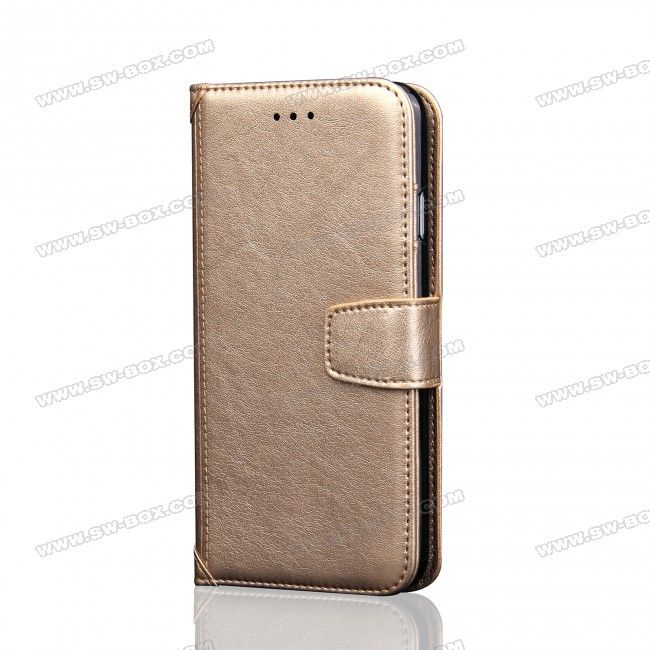 Luxury Business Styles PU Leather Case Wallet With Card Holder Photo Slot for iPhone 7 Plus 5.5 inch - Light Gold