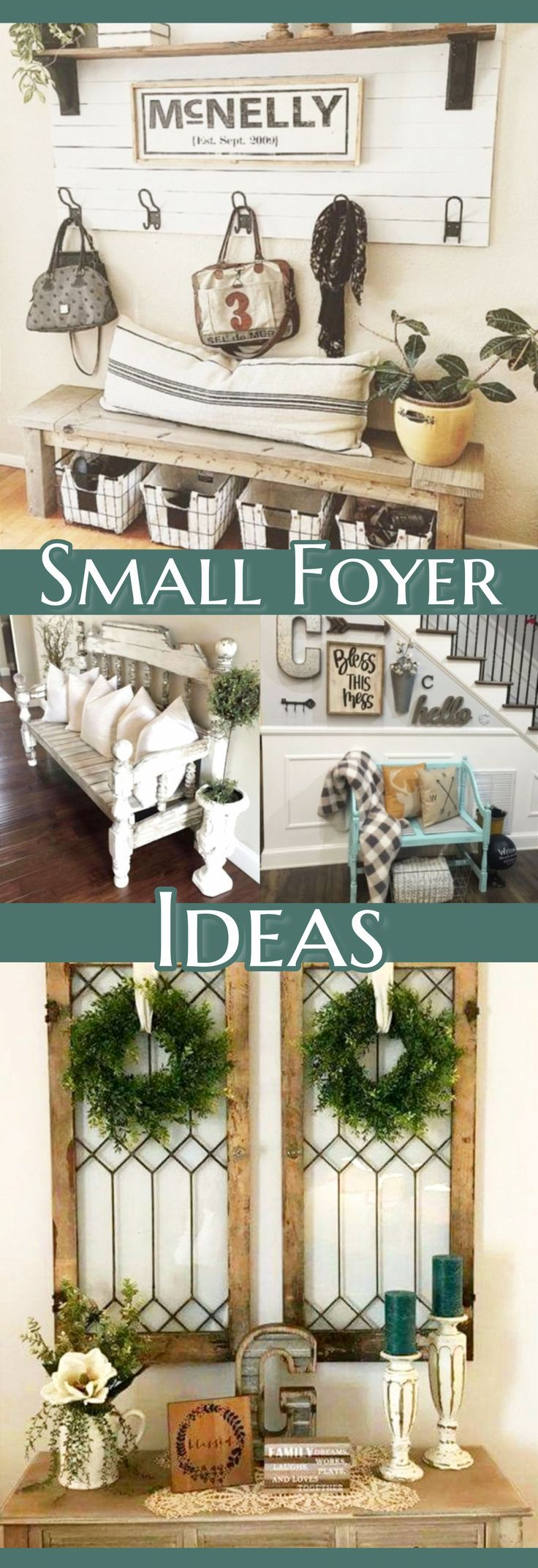 Small entryway ideas for the foyer in your house or apartment. These are beautiful DIY entryway decor and foyer decorating ideas that are perfect for small areas.