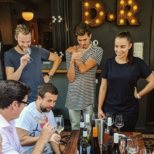 The tail end of a recent staff training session for our autumn wine list.  🇦🇺🍾🍷🍂🍁👌  Bar Manager @adamjdow holding court and definitely in the middle of saying something smart.