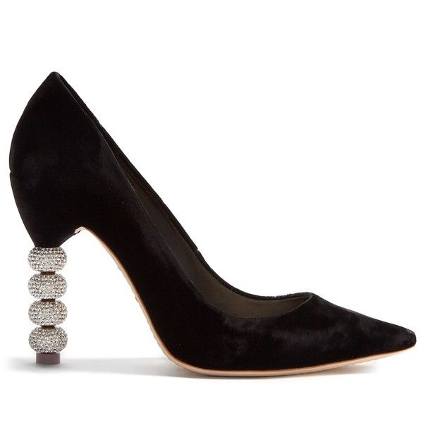 Sophia Webster Coco crystal embellished-heel velvet pumps (€445) ❤ liked on Polyvore featuring shoes, pumps, heels, black, pointed-toe pumps, black pointy-toe pumps, sophia webster pumps, black shoes and sophia webster shoes