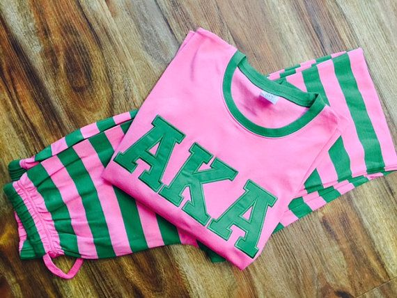 PRESALE AKA / Pink and Green/ AKA Sorority PJs/ by SouthernDande