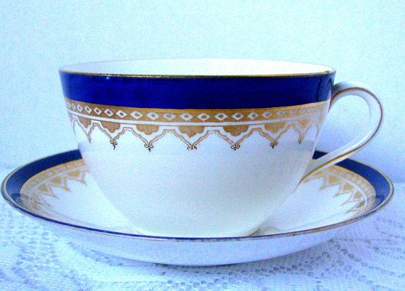 Antique Aynsley Cobalt Band Gold Filigree Teacup And Saucer Tea Cups Tea Cups Vintage Tea Cup Saucer
