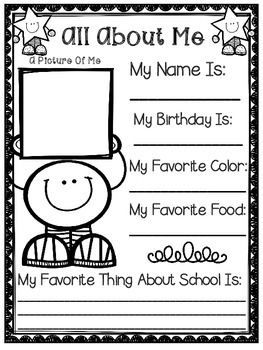 All About Me - Back To School Activity - A Great Activity For The First Week Of School ! #tpt #education #backtoschool