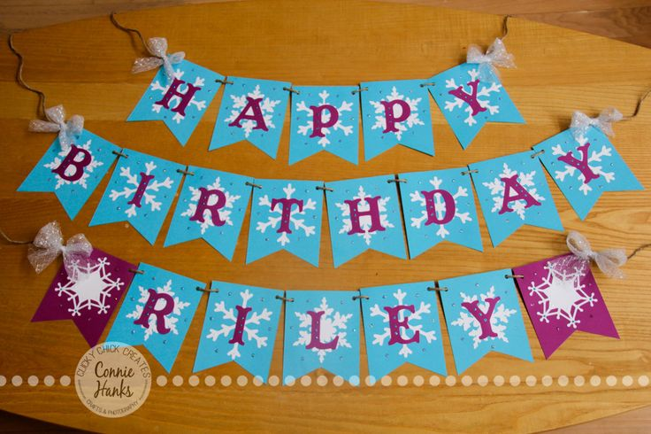 Connie Hanks Photography // ClickyChickCreates.com // Frozen snowflake birthday banner