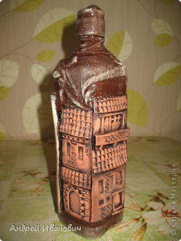 Декор предметов Лепка Испанский дворик Бутылки стеклянные Гипс Глина Краска фото 1