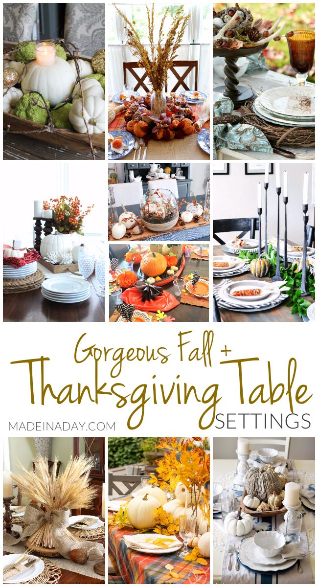 Gorgeous Fall Thanksgiving Table Setting Ideas, pumpkins, neutral Thanksgiving table, decorating for Thanksgiving, Thanksgiving tablescapes, wheat bundle, #Thanksgiving via @madeinaday