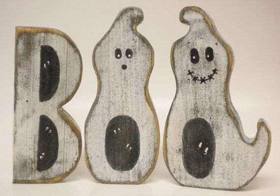 Boo Block Letters Ghosts Primitive Halloween by PearcesCraftShop