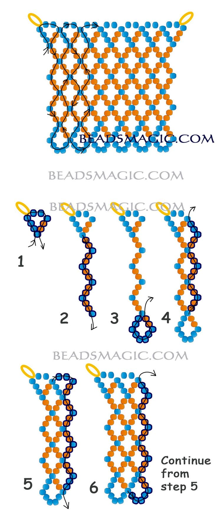 Free pattern for beaded necklace Orange Summer U need: seed beads 11/0 Click to see