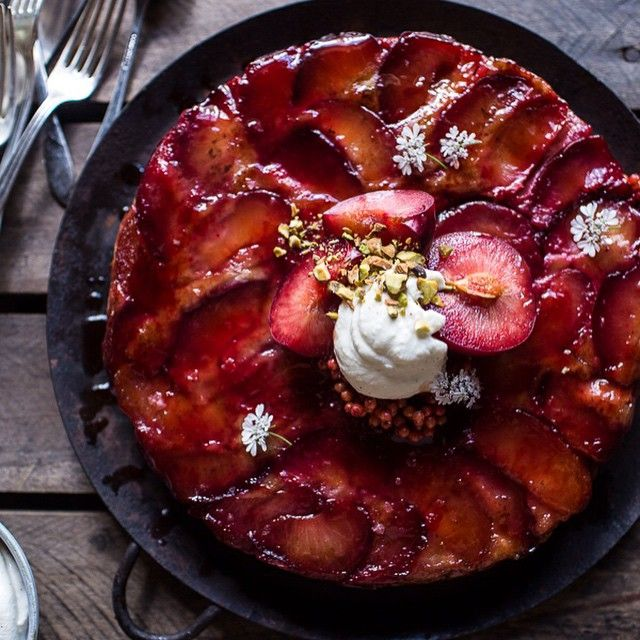 """Don't let summer go by without baking this Brown Butter Upside Down Plum Yogurt Cake with Pistachios by @halfbakedharvest! http://feedfeed.info/peaches-nectarines-plums?img=973035 Get the recipe and over 35 more on the Stone Fruit Feed on our website   feedfeed.info/peaches-nectarines-plums! (Feed edited by @vibrantandpure.) Remember to tag your cooking, baking, and drink making """"#feedfeed @thefeedfeed"""" for a chance to be featured here and on our site."""