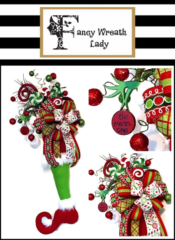 Grinch Stocking - Available and Ready to Ship at Fancy Wreath Lady #Grinch #Christmas www.etsy.com/shop/fancywreathlady