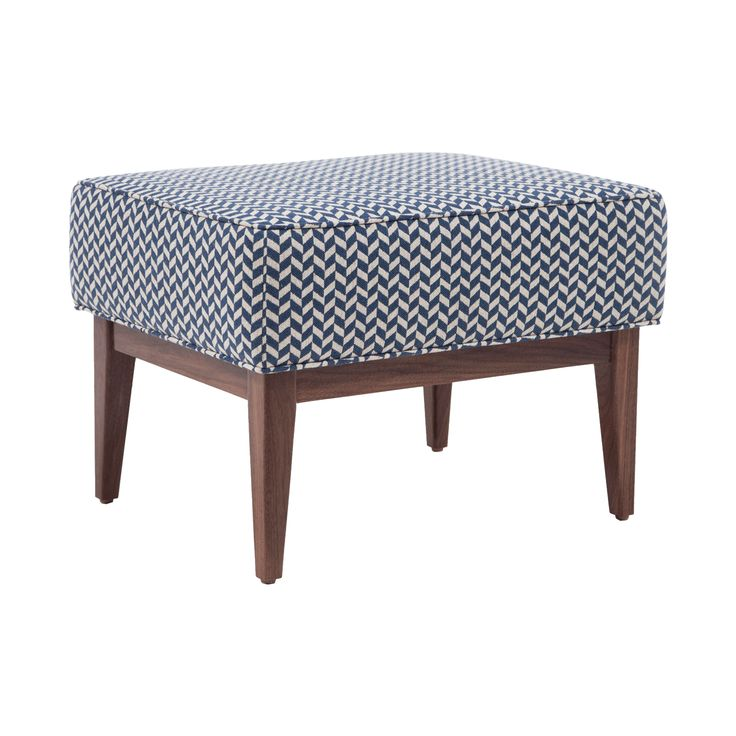 Cedric Walnut Frame Ottoman  Contemporary, Upholstery  Fabric, Ottomans  Pouf by Modern Living Supplies