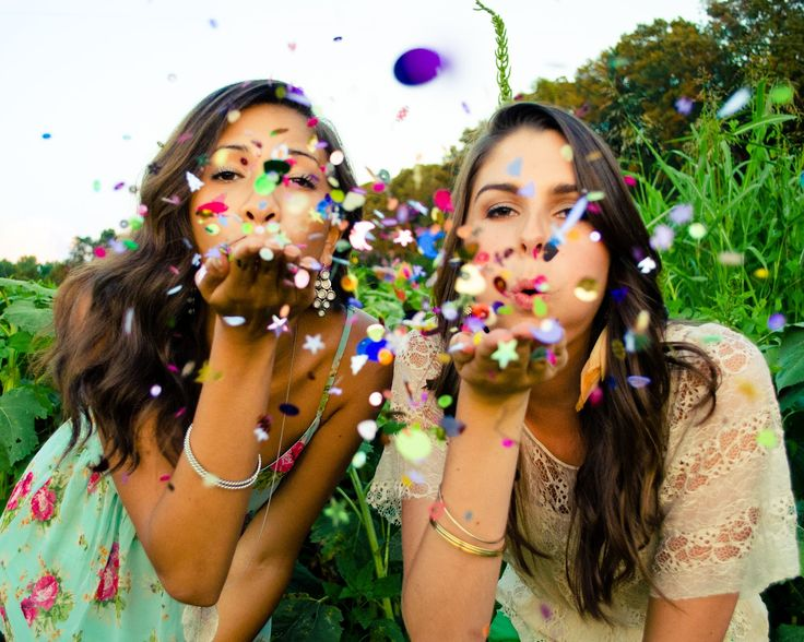 best friend senior portraits! blowing confetti. so fun!!