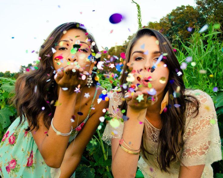 best friend senior portraits! blowing confetti. so fun!!