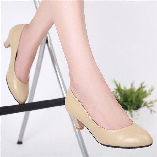 Туфли на высоком каблуке природный натуральная кожа Большой размер 40 классика дамская весна острым носом толстом средний каблуки женский простой черные туфли CC0-0A