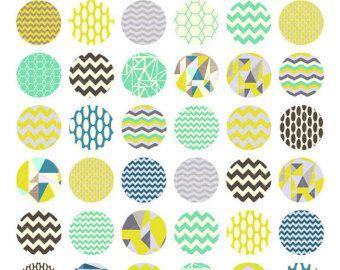 1 Zoll Kreise und Quadrate collage Washi Tape Muster von huetoo