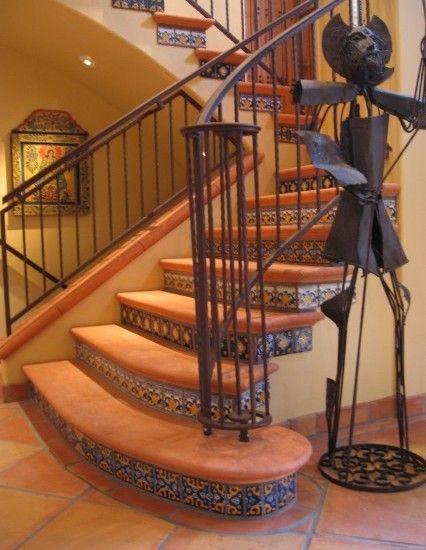 Spanish villa latin accents handmade ceramic tile for Escaleras de herreria