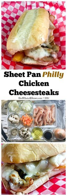 Sheet Pan Philly Chicken Cheesesteak is a quick and easy way to get your cheesesteak fix at home. Clean up is a snap using only one sheet pan to make dinner. via @dadwhats4dinner