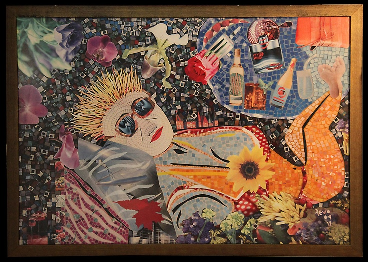 My lovely crazy funny sis!, paper collage from magazine pages, 1 m X 70 cm