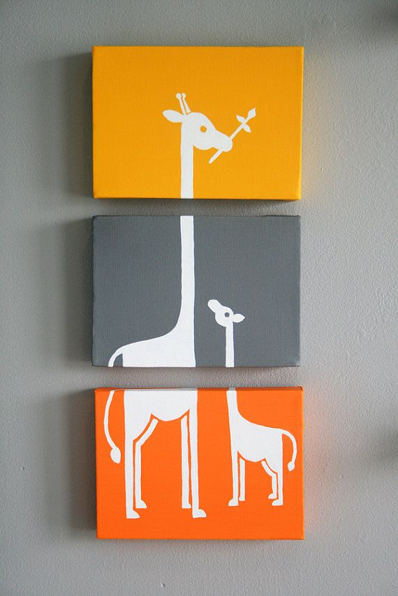 "RESERVED FOR MICHELLE Custom Giraffe Painting Series of 3 (5x7"" panels)"