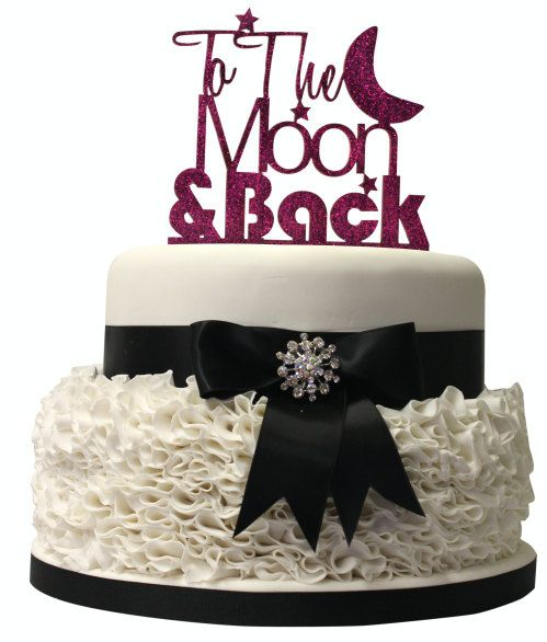 Laser cut To The Moon and Back romantic wedding cake topper. UK Made