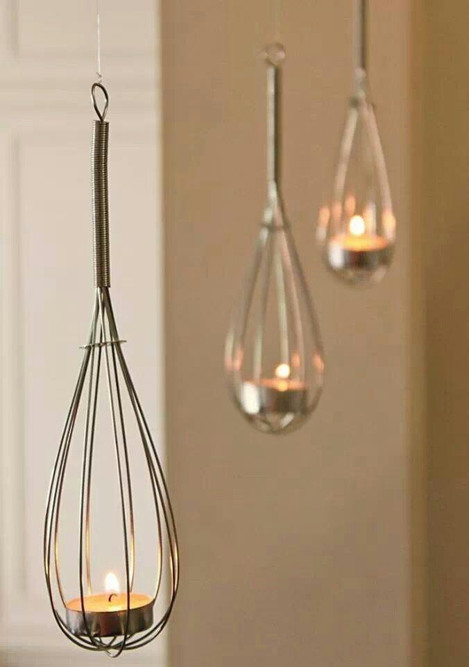 Upcycle Home Idea- Use Whisks to create haning tea light baskets!... - http://centophobe.com/upcycle-home-idea-use-whisks-to-create-haning-tea-light-baskets-3/ -