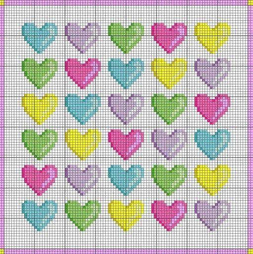 Free Hearts Cross Stitch Pattern