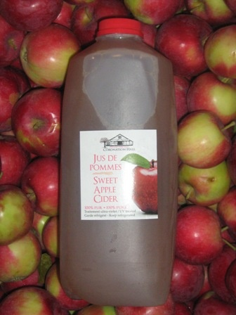 Sweet apple cider, unpasteurized, no preservatives, only ingredient is apples.  Delicious cold or warmed up.