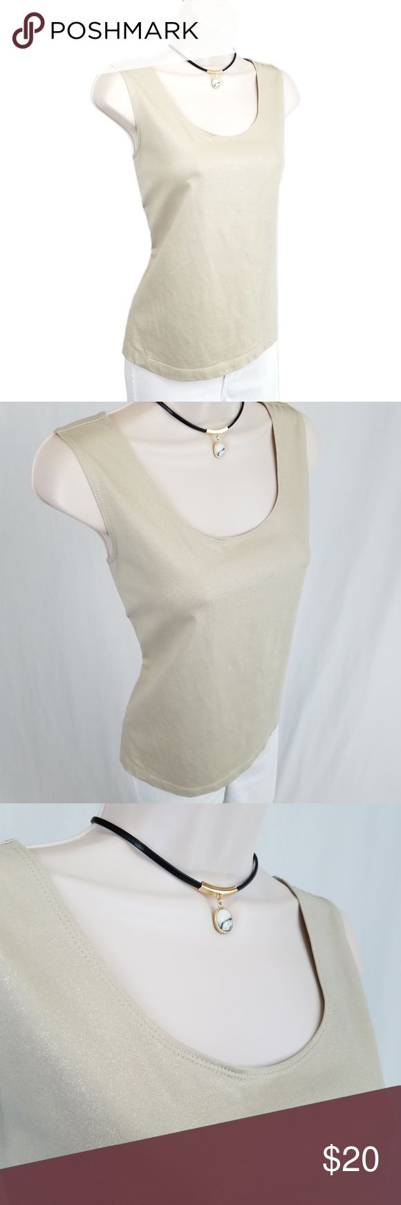 Chico's gold sleeveless top / shell Sleeveless crew neck stretch jersey shell in subtle shimmering gold laid over a taupe-ish base color.  Chico's size 2, equivalent to large.    Bust 19.5 / lengther 22.5 inches (unstretched).  92% nylon, 8% spandex. Chico's Tops