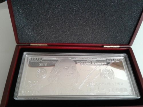 Franklin $100 Silver Proof Bar by bescoinsncollectibles