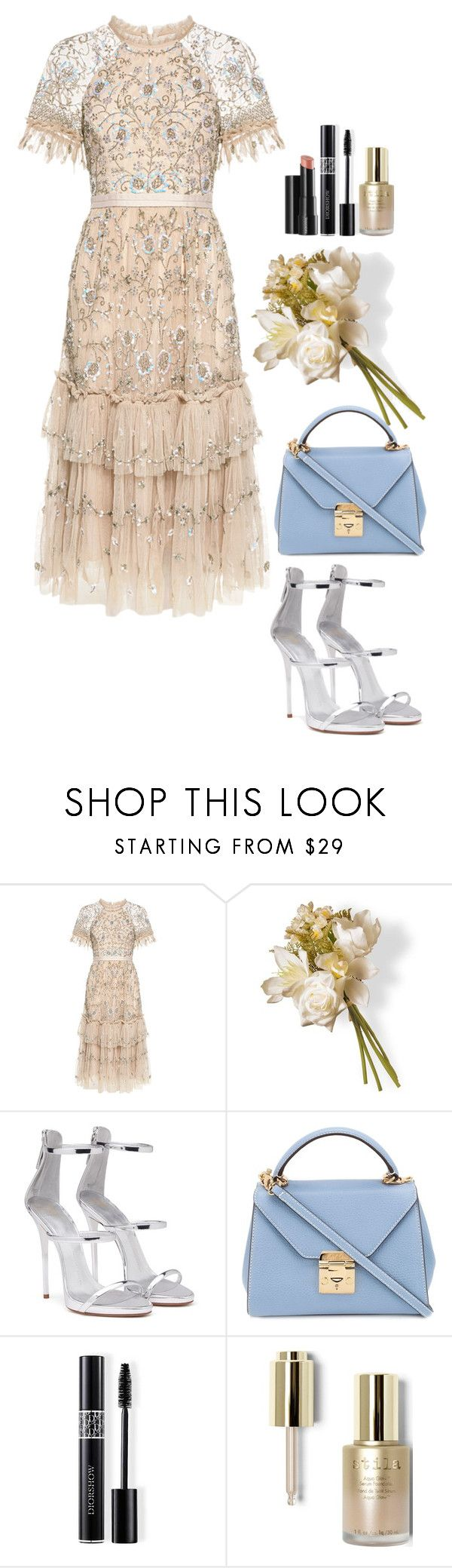 """""""#669"""" by victoria2610 ❤ liked on Polyvore featuring Needle & Thread, National Tree Company, Giuseppe Zanotti, Mark Cross, Christian Dior, Arbonne and Stila"""
