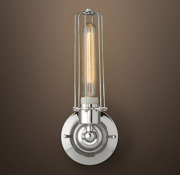 Edison Caged Sconce Polished Nickel Bathroom - R Pinterest Polished Nickel, Sconces and ...