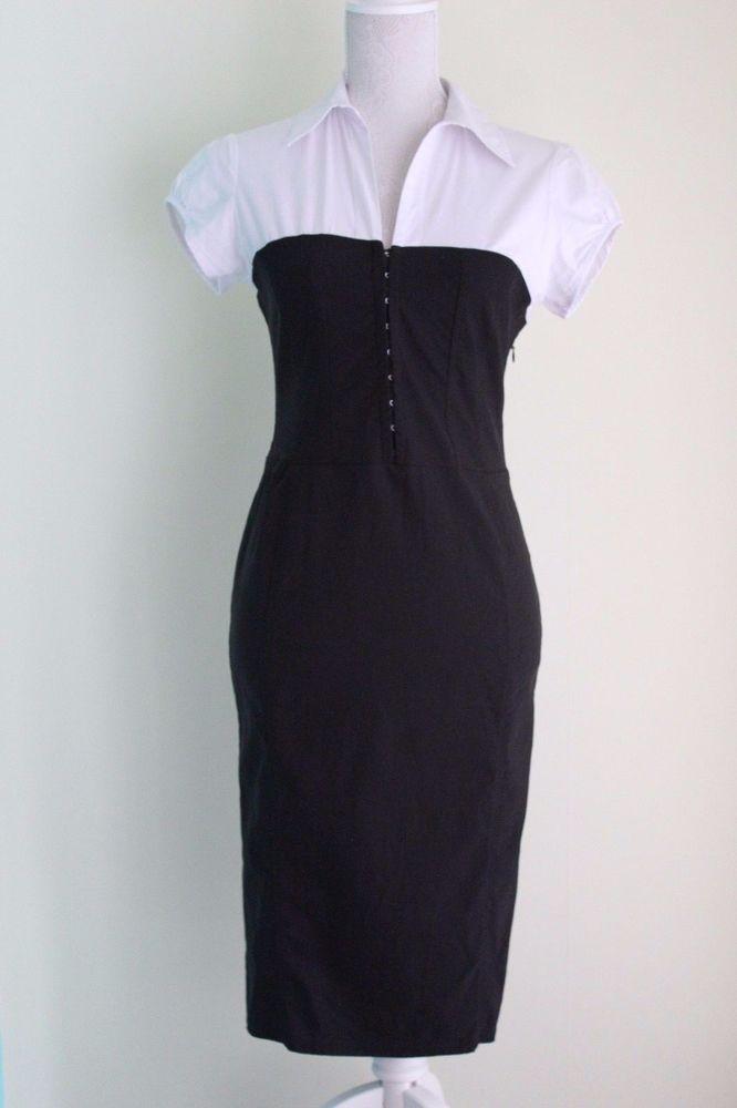 MARK ONE Dress UK Size 12 Black and White Stretch