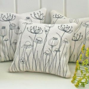 Meadow herb cushion - freehand machine embroidery