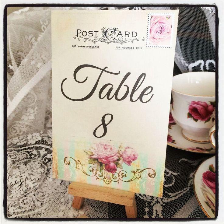 WEDDING TABLE NUMBERS - VINTAGE TABLE NUMBER CARDS - VINTAGE WEDDING