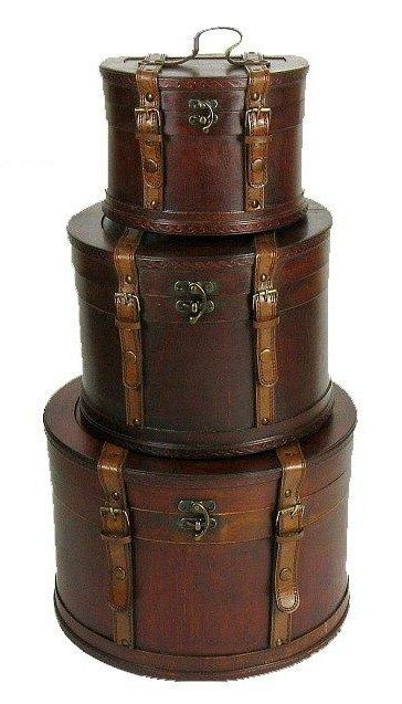 #Rubylane www.Rubylane.com @rubylanecom Antique leather hat containers