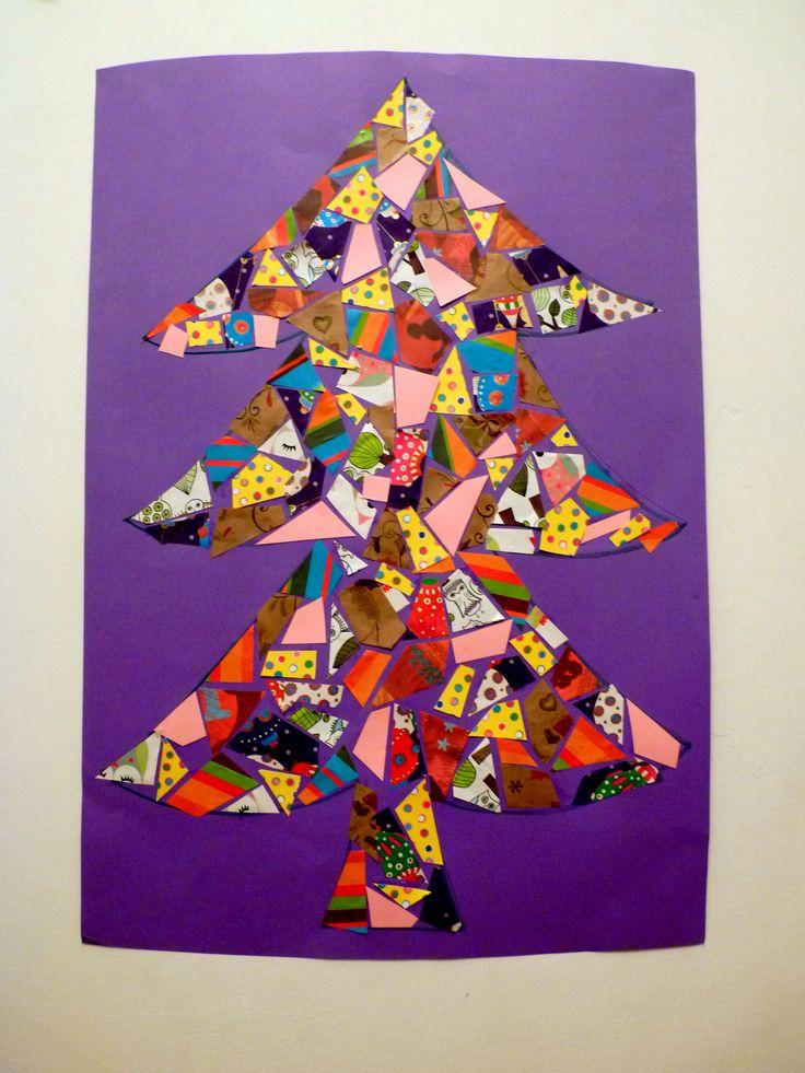 Mozaik karácsonyfa maradék csomagolópapírból