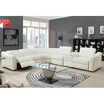 Homelegance Instrumental Reclining Sectional in White Leather - 9623-SS from BEYOND Stores